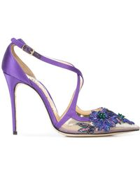 Marchesa Zapatos de tacón Daphne florales - Rosa