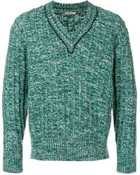 Bottega Veneta Пуловер С V-образным Вырезом - Зеленый