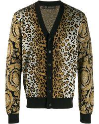 Versace Леопардовый Кардиган Вязки Интарсия - Черный