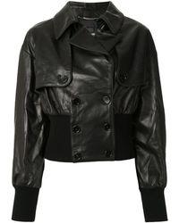 Dolce & Gabbana レザー ダブルジャケット - ブラック