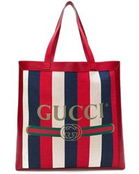 Gucci Printed Tote - Red