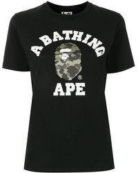A Bathing Ape Camo College プリント Tシャツ - ブラック