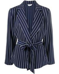 Liu Jo Striped Wrap-effect Blazer - Blue