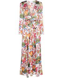 We Are Leone Vestido floral con diseño de albornoz - Blanco