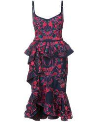 Marchesa notte Floral Shift Midi Dress - Blauw