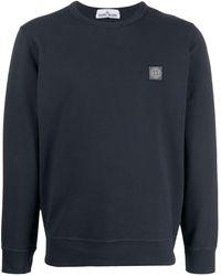 Stone Island - Sweatshirt mit Logo-Patch - Lyst