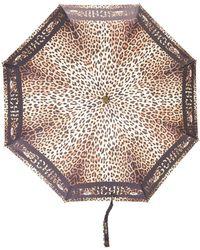 Moschino Paraguas con estampado de leopardo - Negro