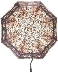 Moschino Leopard-print Umbrella - Black