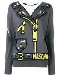 Moschino Jersey de punto con estampado 8bit - Gris