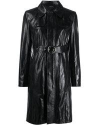 Maison Margiela Robe courte texturée à taille ceinturée - Noir
