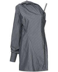 Strateas Carlucci - Pinstriped One-shoulder Shirt - Lyst