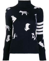 Thom Browne Multi-animal Turtle-neck Sweater - Blue