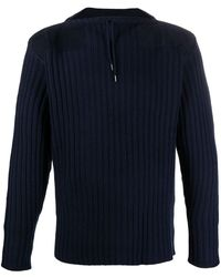 N.Peal Cashmere Drawstring-neck Ribbed Sweater - Blue