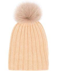 Danielapi Pom-pom Ribbed Knit Hat - Natural