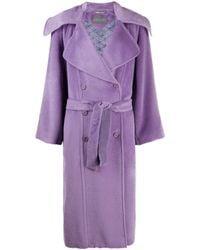 Alberta Ferretti Belted Double-breasted Coat - Purple