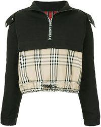 Andrea Crews Mixed Fabric Half Zip Hoodie - Black