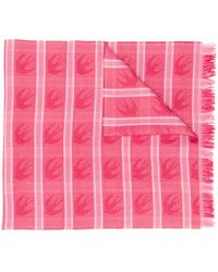McQ Swallow Checked Scarf - Pink