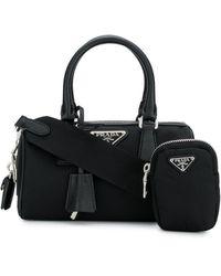 Prada Mini sac à main à plaque logo - Noir