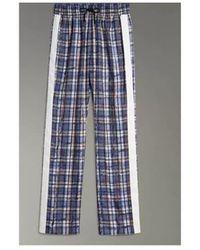 Burberry Stripe Detail Scribble Check Silk Track Pants size UK 8 21592 - Azul
