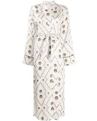 Kirin Masks Print Kimono - White