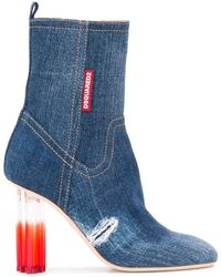 DSquared² Denim High Heel Boots - Blue
