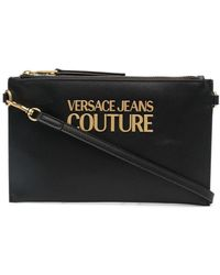 Versace Jeans Couture ロゴプレート クラッチバッグ - ブラック
