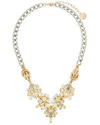 Anton Heunis Crystal Flower Chain Necklace - Yellow