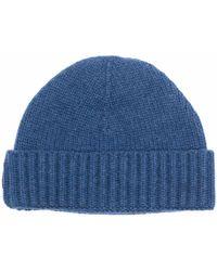Moorer Knitted Beanie Hat - Blue