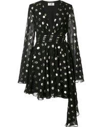 Saint Laurent Asymmetric Polka-dot Fil Coupé Silk-blend Georgette Wrap Mini Dress - Black