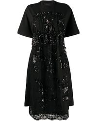 Simone Rocha Sequined Apron-front A-line Dress - Black