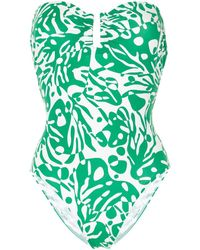 Eres Abstract-print Strapless One Piece - Green