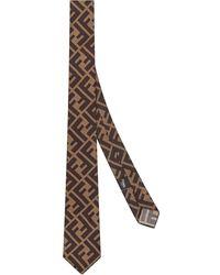 Fendi Cravate à motif monogrammé - Marron
