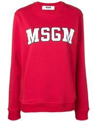 MSGM Felpa con logo - Rosso