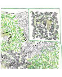 Hermès Sjaal Met Planten Print - Groen