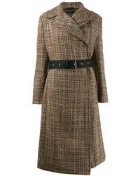 Erika Cavallini Semi Couture - Belted Tweed Coat - Lyst
