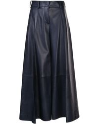 Khaite Selma Wide-leg Flared Trousers - Blue