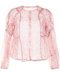 Renli Su Paisley-print Collarless Blouse - Pink