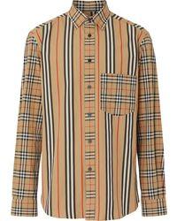 Burberry Поплиновая Рубашка В Стиле Пэчворк - Естественный