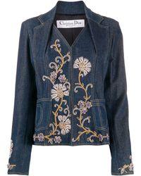 Dior Veste en jean à fleurs brodées - Bleu