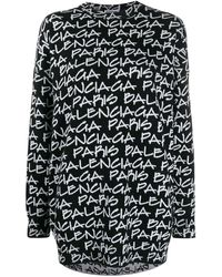 Balenciaga Maglione Paris con effetto jacquard - Nero