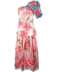 Peter Pilotto - One Shoulder Floral Embroidered Dress - Lyst