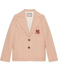 Gucci Silk Wool Jacket With Ny Yankeestm Patch - Natural
