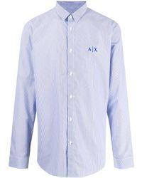 Armani Exchange ロゴ ピンストライプ シャツ - ブルー