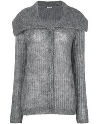 Miu Miu Oversized Collar Cardigan - Gray