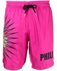 Philipp Plein Heart-breaker Print Swimming Trunks - Pink