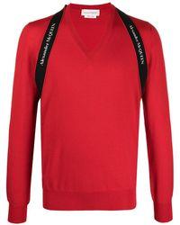 Alexander McQueen Джемпер С V-образным Вырезом И Логотипом - Красный