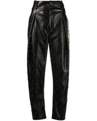 Liu Jo Pantalon en cuir artificiel à ornements - Noir