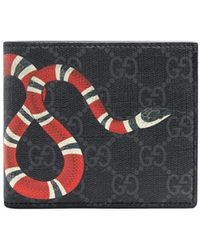 Gucci Kingsnake Print GG Supreme Wallet - Black