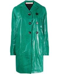 Marni Crocodile-effect Duster Coat - Green