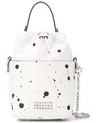 Maison Margiela Paint Splatter 5ac Bucket Bag - White